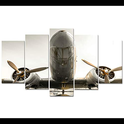 AYZWLH Modular Home Decor Wall Art Canvas HD Printed Pictures Living Room Plane Poster Frame 5 Pieces Aircraft Modern Painting