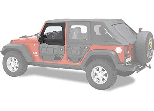 Bestop 51805-35 Black Diamond HighRock 4X4 Element Door Upper Fabric Door Set for 2007-2018 JK Wrangler - Front ()