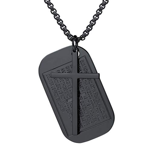 FaithHeart Cross Pendant Necklace, Jewelry Black Gun Plated Bible Verse Necklace Dog Tag Charms Accessories (Black)