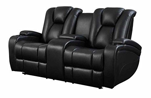 Delange Reclining Power Loveseat with Adjustable Headrests and Storage in Armrests Black ()