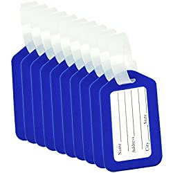 BlueCosto Luggage Tag Suitcase Bag Labels Baggage Accessories - Blue,10 Pack