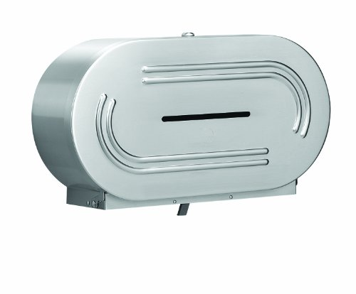 Bradley 5425-000000 18 Gauge Stainless Steel Jumbo Dual Roll Toilet Tissue Dispenser, 20-9/16