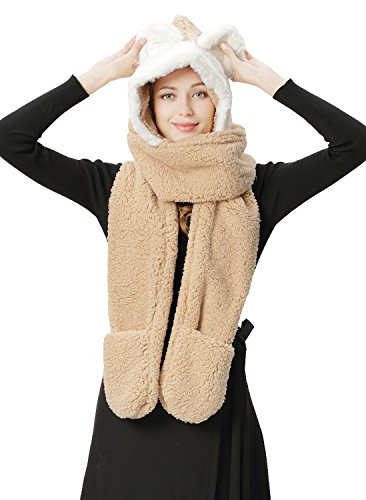 Lovful Long Scarf Wraps Shawl Warm Winter Women Hoodie Gloves Pocket Earflap Hat, Beige