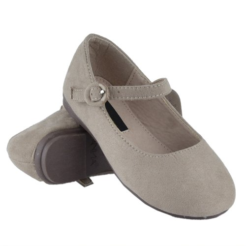 Buckle Accent Ballet Flats (Kids Ballet Flats Ankle Strap Buckle Accent Girls Suede Casual Shoes Taupe SZ 2)