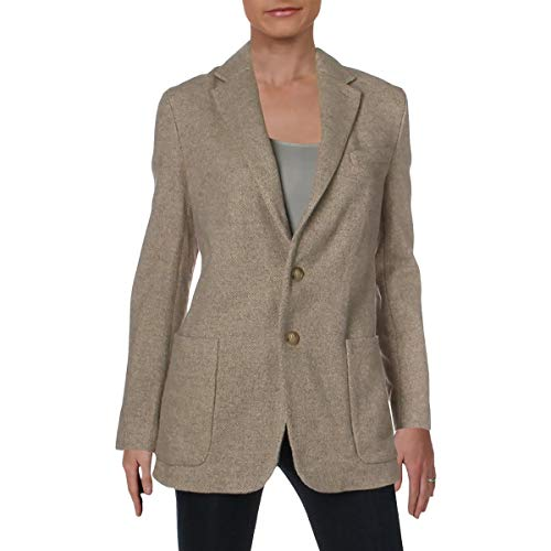 (Polo Ralph Lauren Womens Wool Tweed Two-Button Blazer Beige 10)