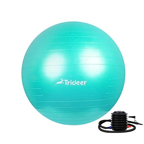 Trideer Exercise Ball (Multiple Sizes), Yoga Ball, Birthing Ball with Quick Pump, Anti-Burst & Extra Thick, Heavy Duty Ball Chair, Stability Ball Supports 2200lbs (Office&Home) (Cyan, 65cm) by Trideer