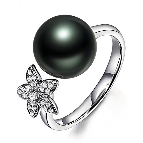 (10mm Tahitian Black Pearl Solid 14k White Gold Diamond Flower Unique Engagement Ring Floral)