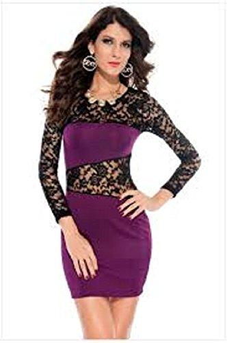 New Purple amp; schwarz Spitze figurbetontes Kleid Club Wear Kleider ...