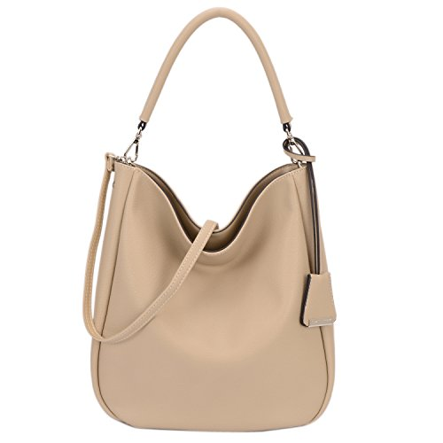 DAVID - JONES INTERNATIONAL. Brown Small Hobo Handbags Soft Faux Leather Crossbody Tote Purse for Women (Beige Bucket)