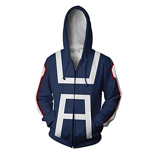 (Boku No Hero Academia My Hero Academia Izuku Midoriya Cosplay Costume Training Suit Jacket Unisex Thick Hoodies (Blue, S))
