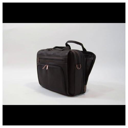 Black Kenneth Cole Reaction Colombian Leather Dual Compartment Top Zip 16 Laptop Portfolio