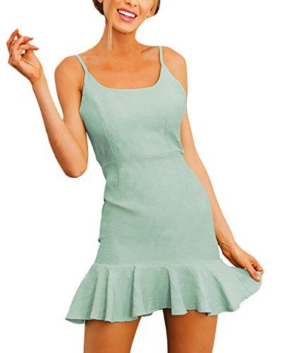 2fbad547a6e0 Sommerkleider Damen Kurz Elegant Ärmellos Schulterfrei Rückenfrei Rüschen  Einfarbig Uni-Farben Mode Casual Strandkleider Minikleid