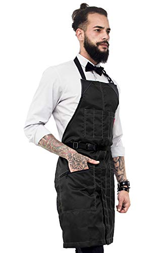 Under NY Sky No-Tie Barber Black Apron – Coated Heavy-Duty Nylon, Water and Chemical Resistant, Zipped Pockets, Split-Leg – Adjustable for Men, Women – Pro Hair Stylist, Colorist, Artist, Bartender (Side Ring Bottoms Hipster)