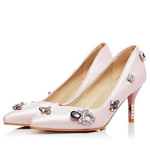 Allhqfashion Dames Pu Kitten Hakken Puntig Gesloten Teen Stevig Uittrekken Op Pumps-schoenen, Roze, 38