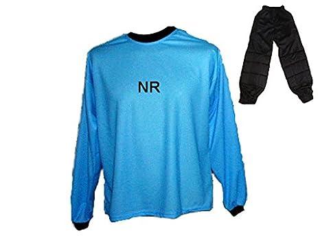 Torwart Trikot gepolstert Blau Lange TW Hose mit Wunschname Nummer Kinder Größen