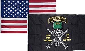Bandera de 3 x 5 Wholesale Combo USA American Mess Best Ranger 3 x 5 2 unidades de los mejores productos para jardín, exteriores, decoración de poliéster, material de bandera Premium color vivo y resistente a la decoloración UV.