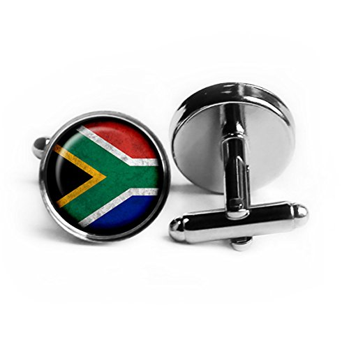South Africa South African Flag Rhodium Plated Silver Cufflinks Rhodium Cufflinks Cufflink