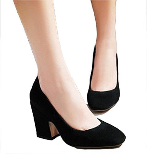 Aisun Womens Elegant Pointy Toe Slip On Office Business Pumps Block High Heels Shoes Black 5GUvN1Hbk