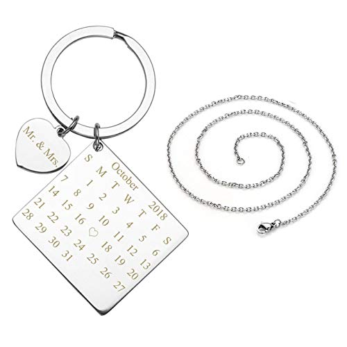 Personalized Master Free Engraving Custom Engraved Name Birth Date Wedding Anniversary Date Calendar Keychain Necklace for Mens Womens Couples Valentine's Day Birthday Special Day Gift]()