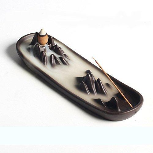 Ceramic mountain peak Boat Style Multifunction Incense Burner Stick Backflow Incense Holder Clay Incense Ash Catcher Home Decor
