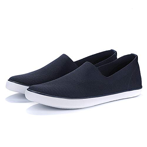 - Men's Canvas Flats Casual Walking Shoes Lightweight Air-Permeable Mesh Flying Weaving Leisure Shoes Dark Blue