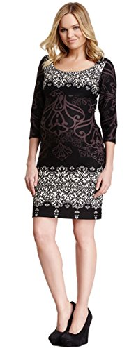 Olian Maternity Women's Floral Allover Print 3/4 Sleeve Dress Sz X-Small Multi