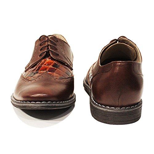 Modello Kormorane - Cuero Italiano Hecho A Mano Hombre Piel Marrón Wing Tip Zapatos Oxfords - Cuero Cuero repujado - Encaje