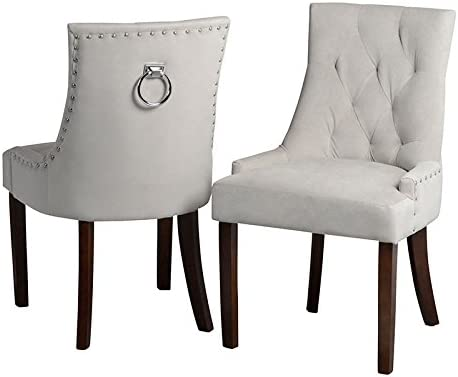 MY-Furniture Upholstered Scoop Back Dining Chair with Back Ring - TORINO Taupe with Legs in Walnut finish