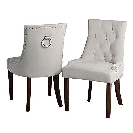 My-Furniture - Chaise de Salle à Manger Anneau au Dos - Taupe, piétement  Finition Noyer - Torino