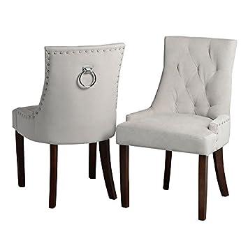 My Furniture Chaise De Salle A Manger Anneau Au Dos Taupe Pietement Finition Noyer Torino