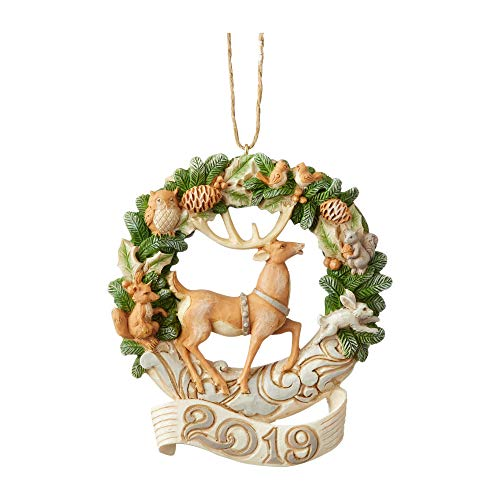 (Enesco Jim Shore Heartwood Creek Woodland 2019 Deer/Wreath Ornament)