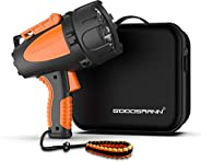 Rechargeable Spotlight by GOODSMANN Waterproof 4500 Lumen Handheld Light LED Portable Floodlight with EVA Stor
