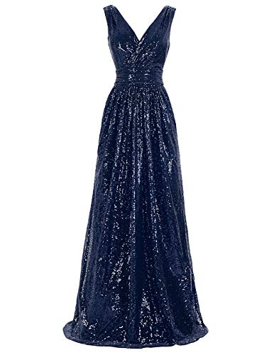(Kate Kasin Sexy Deep-v Sequined Formal Dresses for Special Occasion Navy Blue USA16 KK199-7)