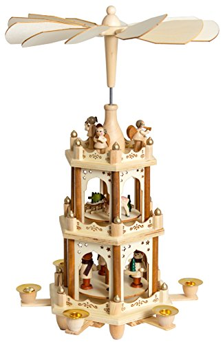 BRUBAKER Christmas Decoration Pyramid 18 Inches Wood Nativity Play - 3 Tier Carousel with 6 Candle - Scene Vintage Nativity