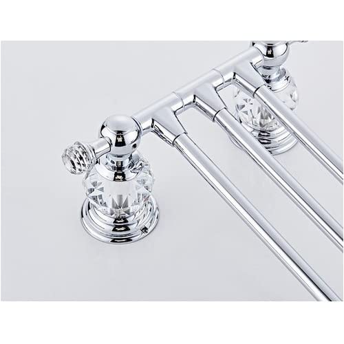 """Wang-Data Antique Polished Mounting Towel Rack 3 Arms 14.17"""" Crystal 70%OFF"""