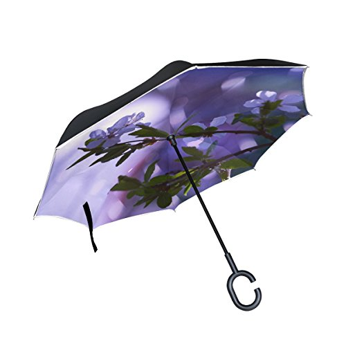 WBSNDB Double Layer Inverted Spring Flower Tree Branch Umbrellas Reverse Folding Umbrella Windproof Uv Protection Big Straight Umbrella For Car Rain Outdoor With C-shaped Handle