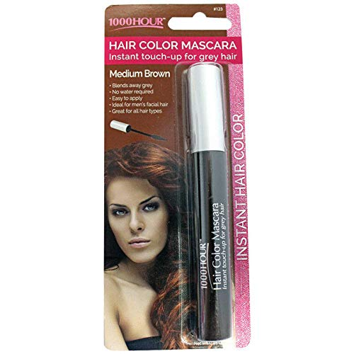 1000 Hour Hair Color Mascara Temporary Hair Color & Root Touch Up (Medium Brown)