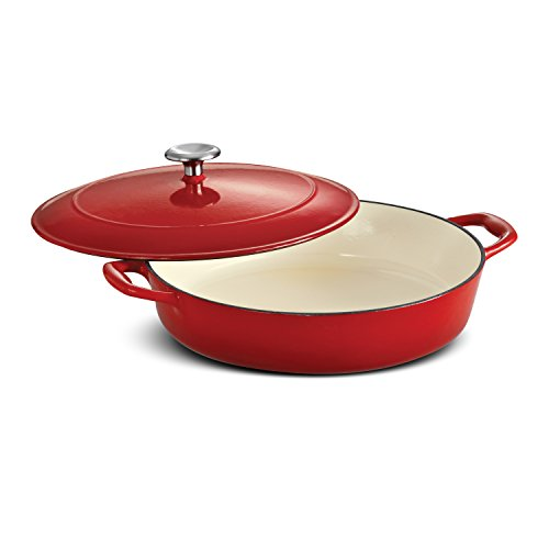 Tramontina Enameled Cast Iron Covered Braiser, 4-Quart, Gradated Red (Coated Cast Iron Skillet)