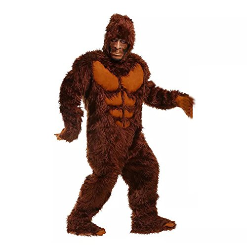 Gorilla Costume Feet (Kacm Halloween Adults Brown Long Hair Big Feet Wild Man Gorilla Stage Costume)