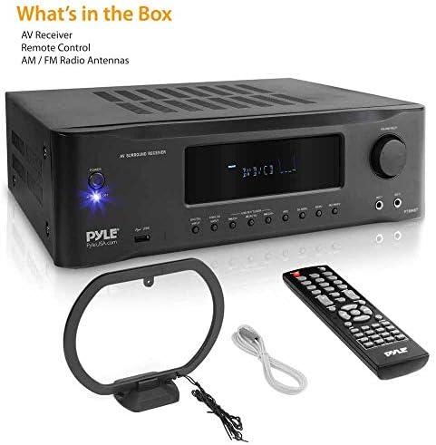 5.2-Channel Hi-Fi Bluetooth Stereo Amplifier – 1000 Watt AV Home Speaker Subwoofer Sound Receiver W/ Radio, USB, RCA, HDMI, Mic In, Wireless Streaming, Supports 4K UHD TV, 3D, Blu-Ray – Pyle PT694BT 416dm1hmpvL