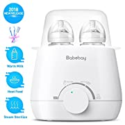 Bottle Warmer & Steam Sterilizer, 3-in-1 Baby Bottle Warmer and Baby Food Heater for Breast Milk or Formula with Double Bottles Design (Bottle Brush and Tongs Included)