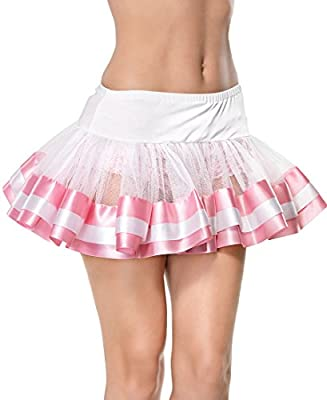 Leg Avenue A1036WP Women's White And Pink Satin Trimmed Petticoat