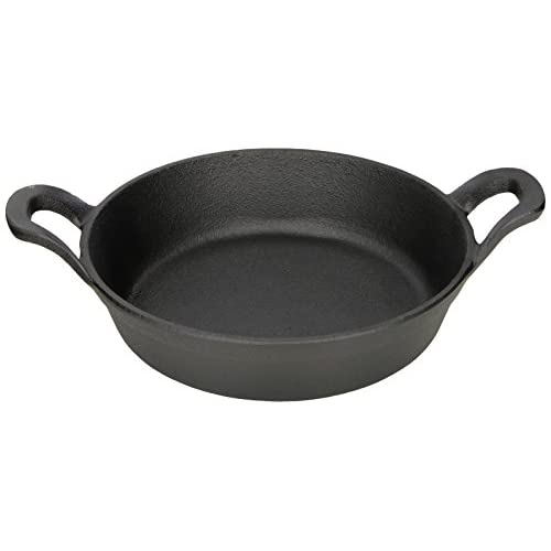 "American Metalcraft CIPR7251 Cast Iron Round Casseroles and Pots, 9.625"" Length x 7.25"" Width, Black"