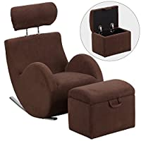 Flash Furniture HERCULES Series Brown Fabric Rocking Chair with Storage Ottoman