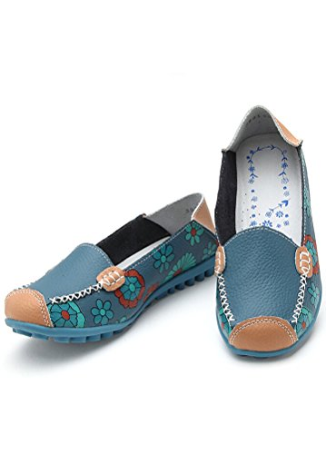 Vintage blå Kvinner Sko Casual Matchlife Skinn Style2 Flat Pumpe qnAxwxS5CB