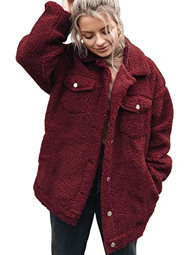 ECOWISH Women's Coat Casual Fleece Fuzzy Faux Shearling Button Down Warm Winter Outwear Jackets 0214 Wine Red - Jacket Coat Red Fleece