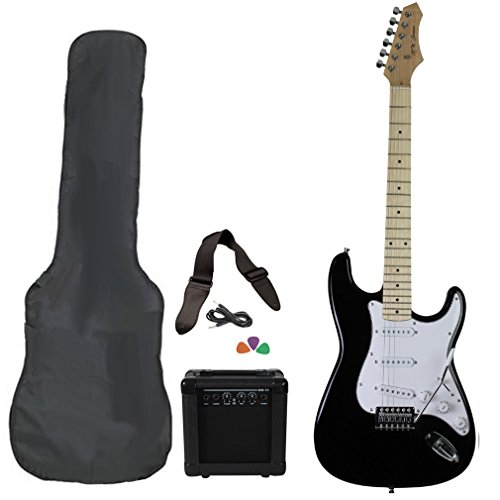 Black Full Size Electric Guitar Package With Amp Case Picks & Strap by Jameson Guitars