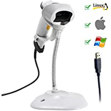 Barcode Scanner,Symcode USB Automatic Barcode Scanner Scanning Bar code Reader with Hands Free Adjustable Stand White