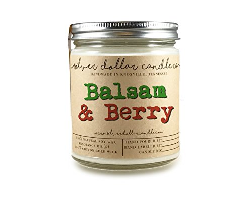 Balsam & Berry Soy Candle 8oz Scented Hand Poured 100% Soy Wax | Berries Citrus Fir Cedar Fruity