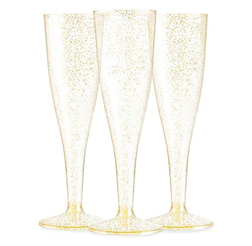 72 Plastic Gold Glitter Champagne Flutes - Bulk Champagne Glasses for Wedding or Party